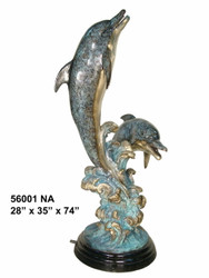 "Two Dolphins Swimming Together - 74"" Design - Special Patina, Style NA"