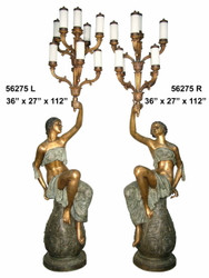 "112"" Maidens on Resting on Pedestals - Ornate Torchieres"
