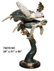 Sea Turtles Swimming with Fish Fountain - Special Patina, Style NC