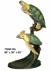 Pair of Swimming Sea Turtles - Special Patina, Style NA