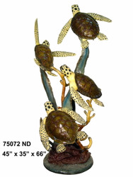 Four Sea Turtles Swimming to the Surface - Special Patina, Style ND