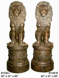 Lions in Sitting Position on Pedestals, Left & Right Pair