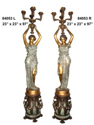Maidens on Pedestal Lamps, Tall, Left & Right Pair