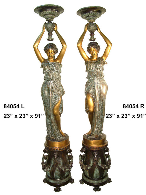 Maidens on Pedestals, Tall, Left & Right Pair