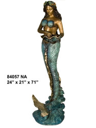 Mermaid with Shell, Standing - Special Patina, Style NA