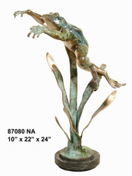 Leaping Frog - with Marble Base - Special Patina, Style NA