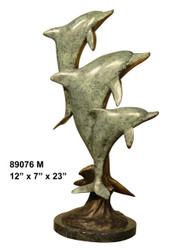 "Dolphin Family - 23"" Design - with Marble Base"
