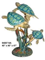 "3 Sea Turtles Swimming - 47"" Design - Special Patina, Style NA"
