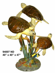 "3 Sea Turtles Swimming - 47"" Design - Special Patina, Style ND"