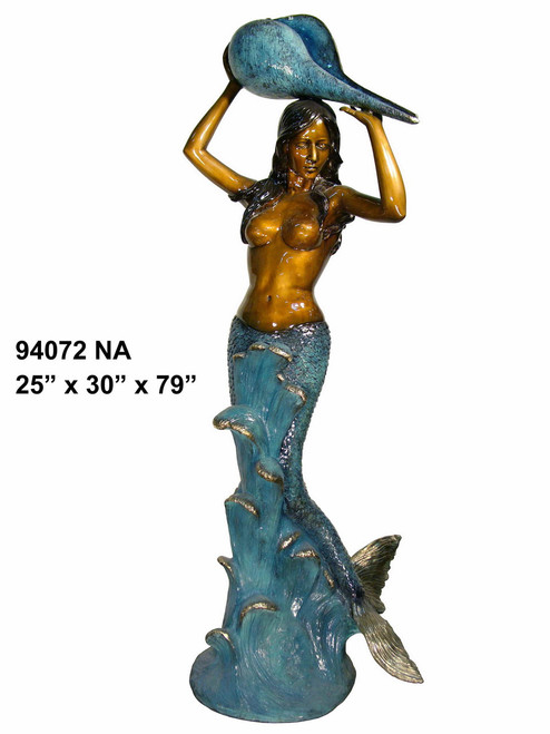 "Mermaid with Shell, 79"" Design - Special Patina, Style NA"
