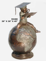 Young Boy on a Globe Learning About the World