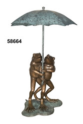 Two Frogs Under an Umbrella - Spillover Fountain - SALE! - Take an Extra 25% Off - Discount Applied at Checkout