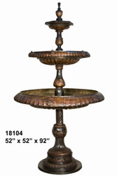 "92"" 3-Tiered Spillover Fountain - Bronze Finish"