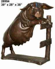 Pig Watching from a Fence - SALE! - Take an Extra 25% Off - Discount Applied at Checkout