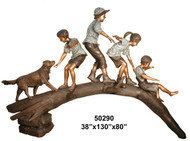Kids & a Dog Playing on a Tree Branch