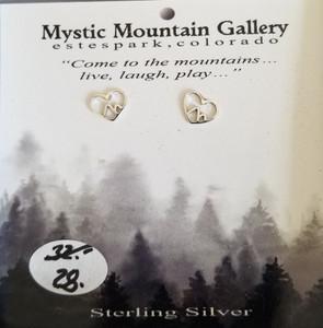 Sterling silver heart mountain earrings