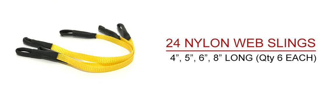 Includes 24 Nylon Web Slings