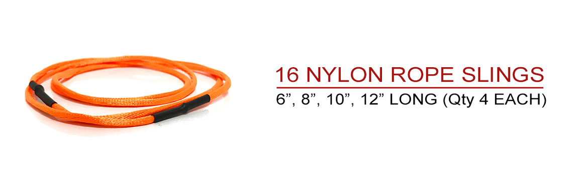 Includes 16 Nylon Rope Slings