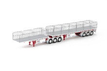 1:50 diecast scale model of MaxiTRANS Freighter B Double Flat Top Trailer Set - BBG