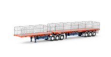 1:50 diecast scale model of MaxiTRANS Freighter B Double Flat Top Trailer Set - Drake