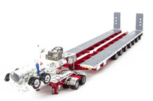 1:50 scale diecast model of Drake 2x8 Dolly and 7x8 Steerable Low Loader Trailer - White and Red