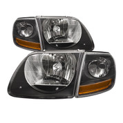 BACK ORDERED 1999-04 FORD F-150 SVT LIGHTNING 02-03 HARLEY DAVIDSON HEADLIGHT AND SIDE MARKER KIT BLACK HOUSING CLEAR LENS