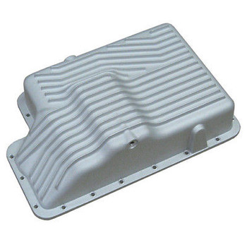 Transmission Pan Features  Increased oil capacity for cooler temperatures Sand-cast aluminum with raised fins 3/16-inch thick wall construction to add strength to the transmission case 3/8-inch thick gasket flange will not bend when bolts are tightened Machined gasket surface for a secure seal Boss cast into pan can be machined for a temperature sensor Magnetic drain plug for easier, less messy maintenance Mounting hardware provided