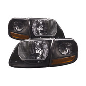 1999-04 FORD F-150 SVT LIGHTNING 02-03 HARLEY DAVIDSON HEADLIGHT AND SIDE MARKER KIT BLACK HOUSING SMOKE LENS