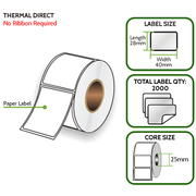 TD 40mm x 28mm Paper Label - Thermal Direct