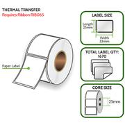 TT 33mm x 25mm Paper Label - Thermal Transfer