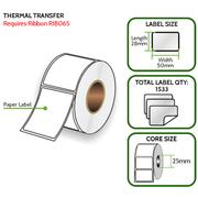 TT 50mm x 28mm Paper Label - Thermal Transfer