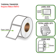 TT 75mm x 25mm Paper Label - Thermal Transfer