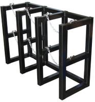 3 Cylinder Storage Rack 3 Cyl Wide x 1 Cyl Deep Steel Chains Custom