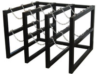 9 Cylinder Storage Rack 3 Cyl Wide x 3 Cyl Deep Steel Chains Custom