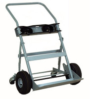 "2 Cyl 4 Wheel Hand Truck 10.5"" Pneumatic Tires Custom"