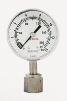 "316 Stainless Steel Gauge With Stainless Steel Case 2"" Dia. 4A 1/4 Female VCR® Face Seal 0-200 psig"