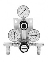 "B2 High Purity Semi-Auto Stainless Steel Changeover Manifold 0-100 PSIG W/Isolation Valves & Check Valves 36"" SS Pigtails Model 914-2-100-FP604-3-CV-8320-P4FF2"
