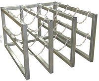 12 Cylinder Storage Rack 3 Cyl Wide x 4 Cyl Deep S.S. Chains (Stainless Steel) Custom
