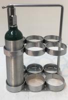 "6 Cylinder Carrier/Floor Mount For M6 (3.20""DIA) Oxygen Cylinders Custom"