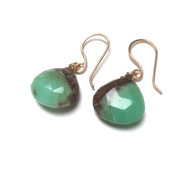 Bronze Wrapped Bio Chrysoprase Briolette Earrings - Pair #1