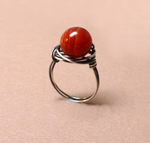 Sterling Silver Wrapped Red Agate Ring - Solid Red/Smooth