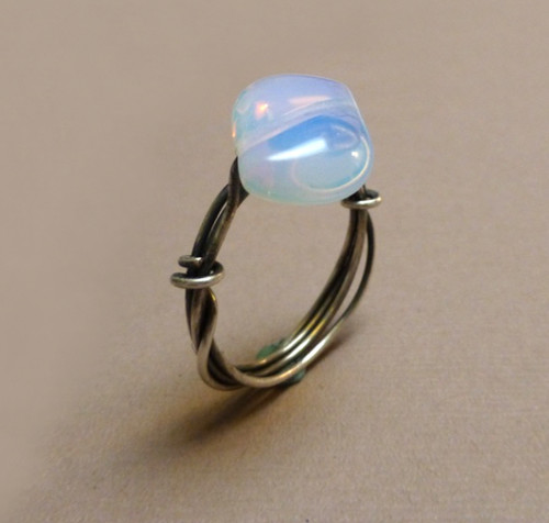 Sterling Silver Wrapped Opalite Communication Ring