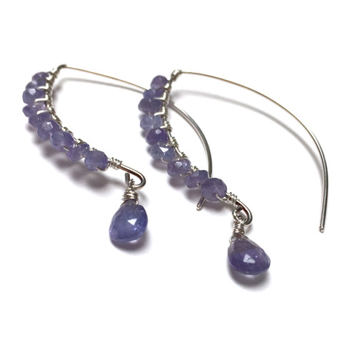 Sterling Silver Tanzanite Elven Earrings.