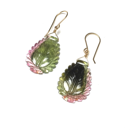 Gold Filled Tourmaline Carved Leaf Earrings