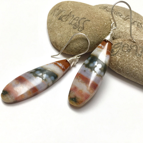 Sterling Silver Ocean Jasper Teardrop Earrings.