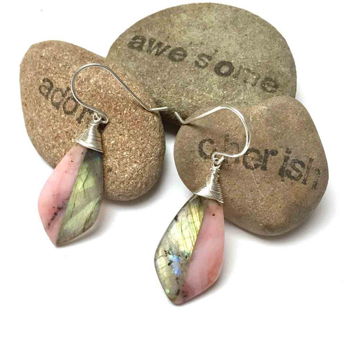 Sterling Silver Labradorite Pink Peruvian Opal Intarsia Earrings