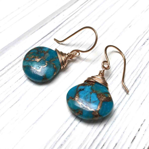 Copper Turquoise Briolette Earrings