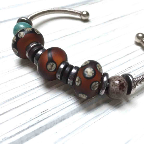 Sterling Silver Lampwork Bangle Bracelet with Screw On End Caps