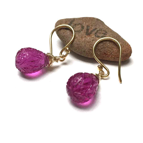 Gold Filled Hot Pink Carved Quartz Teardrop Earrings