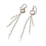 Sterling Silver White Coin Pearl Tassel Earrings